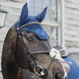 Kentucky Horsewear - Bonnet Velvet Pearls Bleu Marine